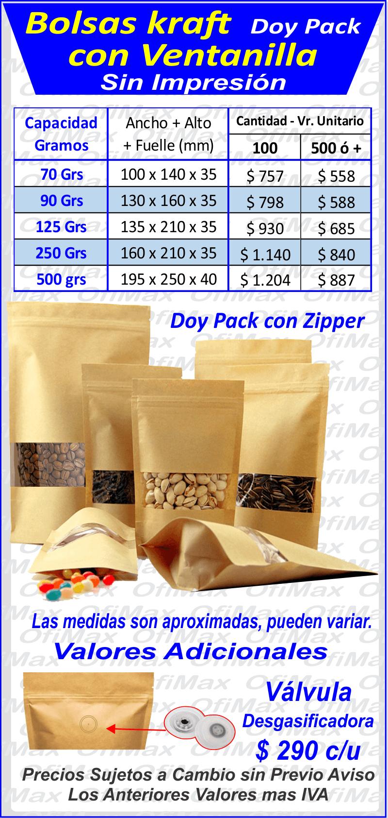 6d47b5ce2 ... colombia Bolsas doy pack con ventanilla en papel kraft genericas,  bogota, colombia
